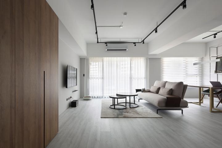 台中室內設計案例,三房改兩房的北屯簡約宅,打造人貓生活美居客廳作品