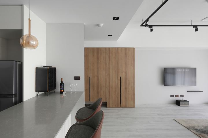 台中室內設計案例,三房改兩房的北屯簡約宅,打造人貓生活美居中島作品圖
