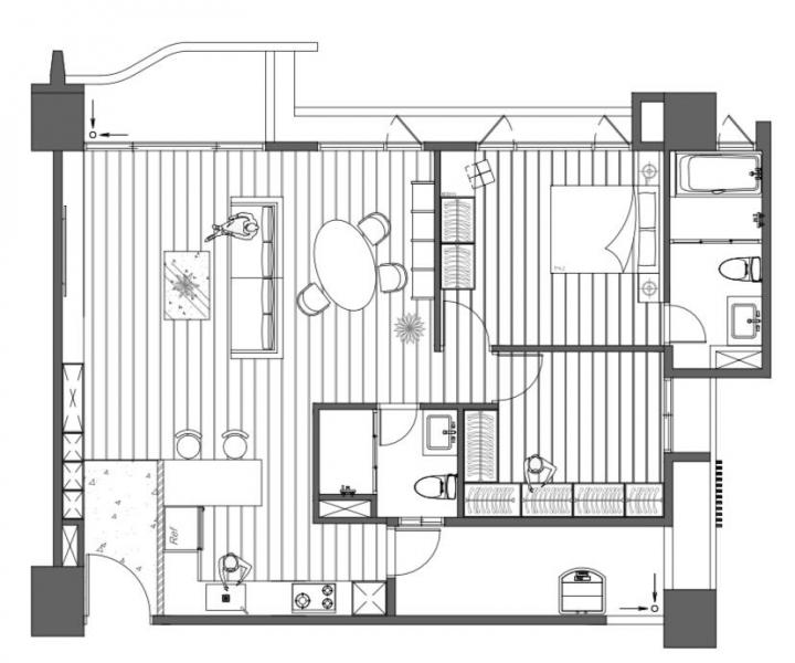 台中室內設計案例,三房改兩房的北屯簡約宅,打造人貓生活美居的平面配置圖