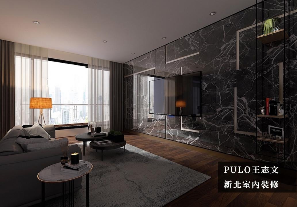 主牆面以磅礴的大理石磁磚拼接而成,並在其中刻劃線條,減少大面積暗色調所帶來的壓迫感,同時也增添設計趣味。主窗採未切割的整片玻璃,即使未開燈也能擁有大面採光;桌體使用體積較小的圓桌,達到整體空間的廣闊。-PULO裝潢平台