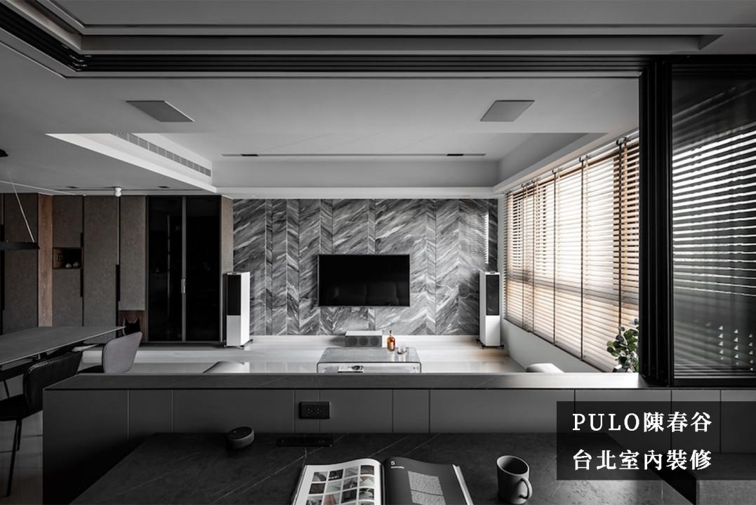 37 款電視牆面裝潢實例-大客廳&大理石感設計-PULO裝潢平台